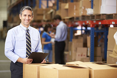 image of business owner in warehouse