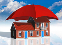 house covered with umbrella