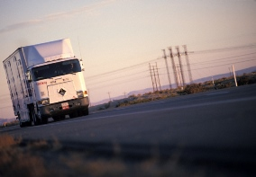 image of long haul truck driving