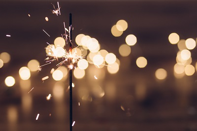 image of sparkler celebrating new years
