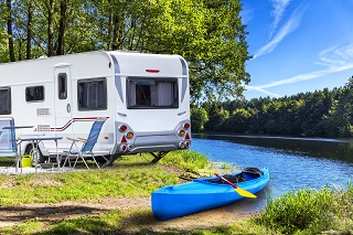 image of RV camped at a lake in Illinois