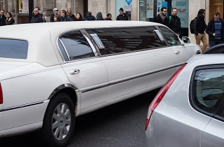 image of limo driving through chicago