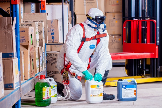 image of man working with chemicals