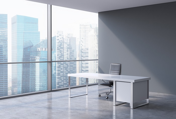 Empty Desk in Remodeled Office